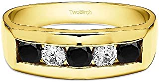 TwoBirch Yellow Plated Sterling Silver Men's Wedding Ring With Black And White Cubic Zirconia(0.75Ct. Size 11.5)
