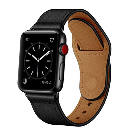 TPWAY Compatible with iWatch Band 44mm 42mm, Genuine Leather Replacement Band Strap Compatible with Apple Watch Series 6 5 4 3 2 1, SE, 42mm 44mm, Black