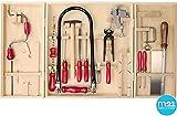 matches21 Großer Kinder Öko-Werkzeugschrank inkl. Laubsägebogen, Bohrmaschine, Stahl Kinderwerkzeugen + viel Zubehör