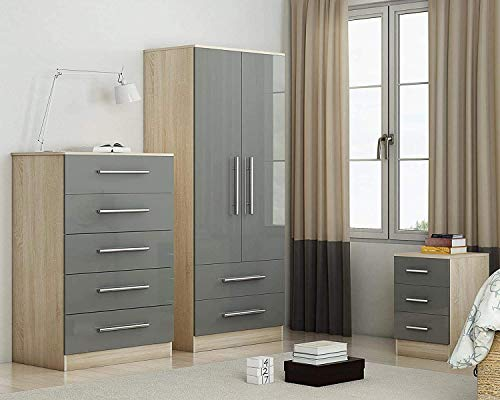 WZH Three Piece Bedroom Furniture Set Bedside, Chest, Wardrobe