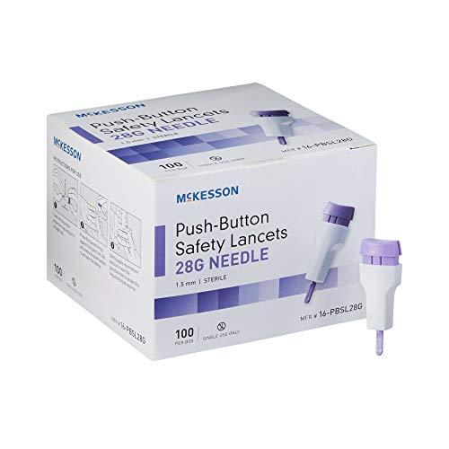 McKesson Lancet Push Button 28 Gauge 1.5 mm Depth 1 Box(s), 100 /Box