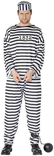 Smiffys, Herren Sträfling Kostüm, Hemd, Hose und Mütze, Größe: XL, 96318