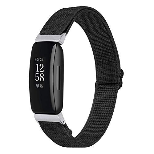 Chofit Armband kompatibel mit Fitbit Inspire 2 Riemen, verstellbares Nylon-Segeltuch, gewebtes elastisches Armband, Ersatz-Sportarmband für Fitbit Inspire 2 Fitness-Tracker (schwarz)
