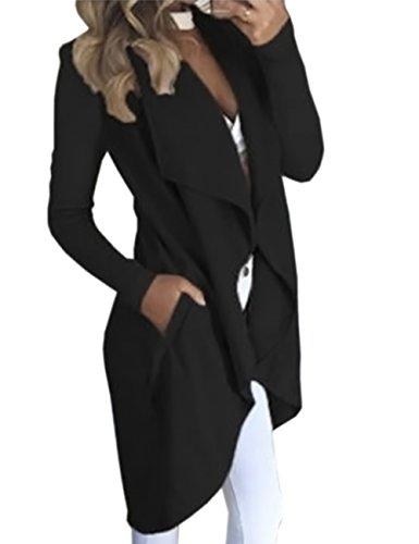 HAHAEMMA Damen Maxi Offene Cardigan Strickjacke Asymmetrisch Strickmantel Mantel mit Tasche Fleece Mantel Winter Frühling Reverskragen Lang Umstandsbekleidung Jacke(BL,M)