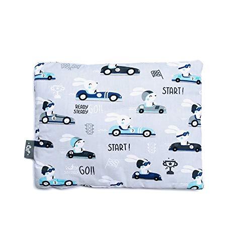 Baby Kopfkissen, Kissen 100% Baumwolle, klein, flach, perfekt für Kinderwagen und Babybetten 30cm x 40cm (Autos)