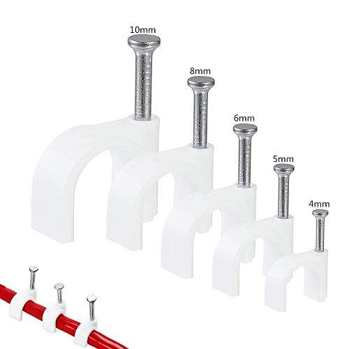 Kabelschellen 500 Stücke Kabelklemme Verbesserte Version Nagelschellen mit Nagel Kabel halterungen Kabelbefestigung Weiß Größen: 4mm, 5mm, 6mm, 8mm,10 mm, 100 Stück je...