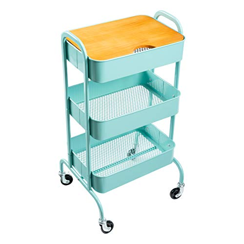 AGTEK 3-Tier Metal Utility Cart with Wheels, Storage Rolling Cart with Handles, Movable Makeup Cart with Plants,Blue