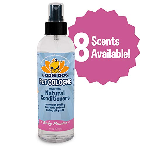 Natural Pet Cologne Large | Cat & Dog Deodorant and Scented Perfume Body Spray | Clean and Fresh Scent | Natural Deodorizing & Conditioning Qualities | Made in USA - 1 Bottle 8oz (Baby Powder)