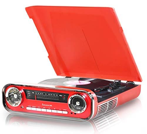 Lauson 01TT17 Vinyl Platenspeler Retro | Vintage Turntable Muscle Car-design met 2 Geïntegreerde 3W Stereoluidsprekers | Vinyl Record Player met met FM-radio en Bluetooth-functie, USB, AUX-IN, Digital Encoder | 3 Snelheden (33, 45, 78) (Rood)