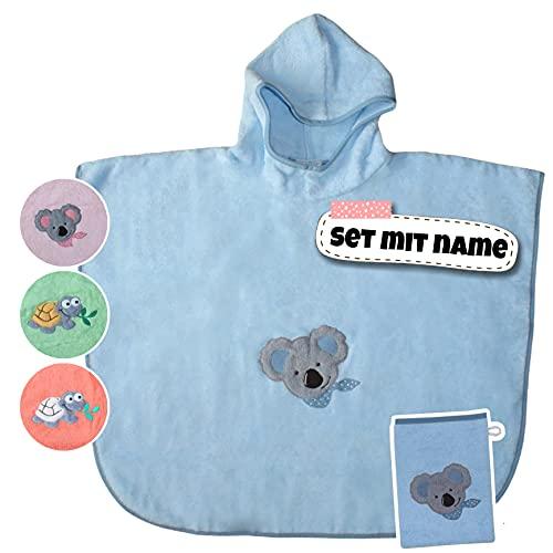 Stickling SET Kinder Poncho + Waschlappen personalisiert | 100% BIO Baumwolle | personalisiert mit Namen | Baby Kapuze Bademantel | Badeponcho | Kinder Badetuch | bis 4 Jahre (Eisblau)