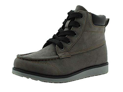 Amazon Essentials Kids' Moc Toe Fashion Boot, Grey, 4 Medium US Big Kid