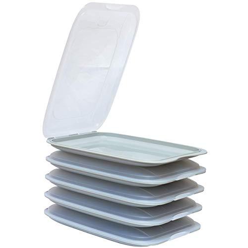 ENGELLAND - Hochwertige stapelbare Aufschnitt-Boxen, Frischhaltedose für Aufschnitt. Wurst Behälter. Perfekte Ordnung im Kühlschrank, 5 Stück Farbe Grau, Maße 25 x 17 x 3.3 cm