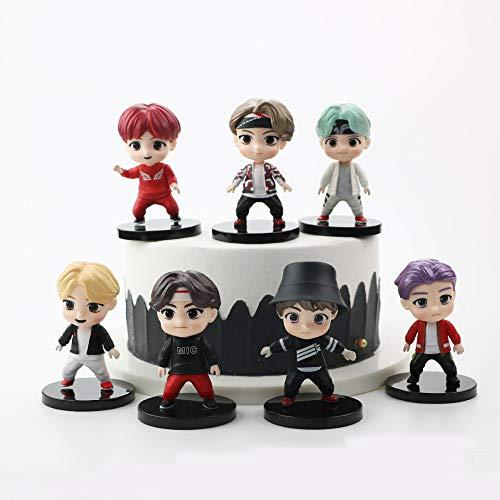 7PCS Personaggi BTS Set di Action Figure Giocattoli Cake Toppers Fingure Personaggi Set di Action Figure Giocattoli BTS Party per BTS Forniture per Feste di Compleanno