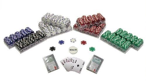 Trademark 1000 Striped Dice 11.5 Gram Poker Chips Texas Hold Em Poker Chip Set, Multi
