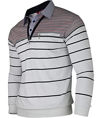 Soltice Herren Langarm Poloshirt mit Brusttasche, Polohemd mit kariert, Gestreiftem Kragen, Blousonshirt aus Baumwoll-Mix (M bis 3XL) (3XL, [M1] Weiss)