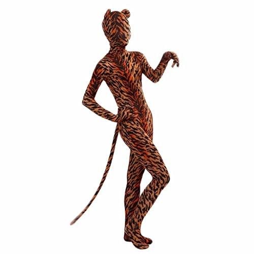 Baoblaze Tiger-Kostüm Ganzkörperanzug Body Suit Anzug Einteiler Damen Herren Ganzkörper Bodysuit für Karneval Fasching Halloween - L