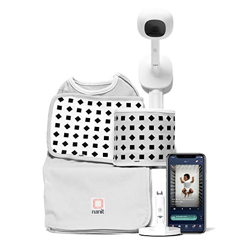 Nanit - Sistema completo de monitor con movimiento respiratorio: Nanit Plus montaje en pared + soporte múltiple + set de inicio, un pequeño envoltorio y una pequeña banda