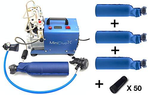 Equipo de Buceo Mini Tanque 10-15 Minutos de Autonomía I Kit con Compresor Eléctrico I Cilindros de Oxígeno Buceo I Unisex