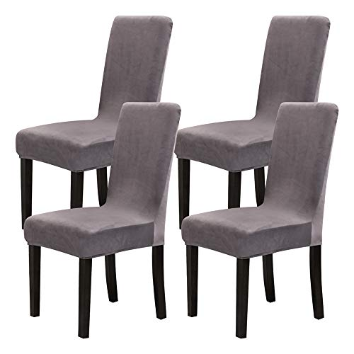 Mecerock Velvet Stretch Dining Room Chair Covers Soft Removable Dining Chair Slipcovers Set of 4 (Light Gray)