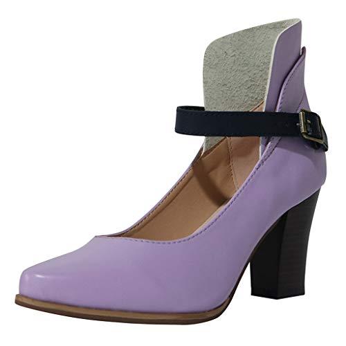 Damen Sandalen Spitz Pumps Schnalle Blockabsatz Stiefel Peep Toe Keilabsatz Stiefeletten Retro Sommerschuhe Keilabsatz Schuhe Sandaletten (EU:40, Lila)