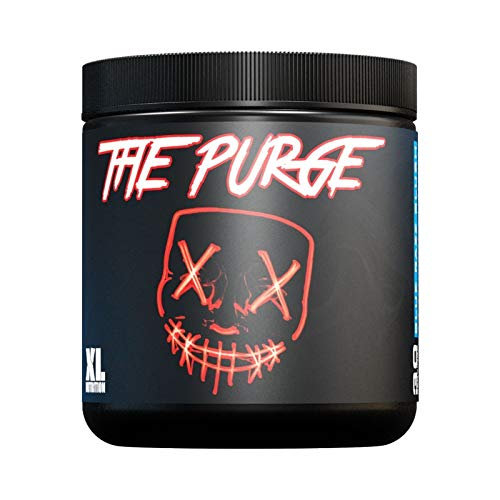 XL Nutrition The Purge - Pre Workout 225g - High Caffeine Content - Helps with Energy, Focus and Blood Flow - No Crash - Potent Formula - Quick Absorbing (Blue Razz Slush)