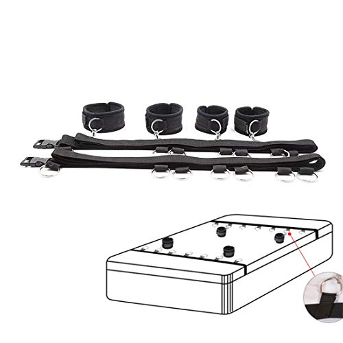 Mattress Straps Kit for Couples Game, Including Adjustable Wrist Straps and Ankle Straps