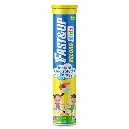Fast&Up Reload Kids – Instant Electrolytes for kids – Instant Energy - 25 Effervescent Tablet – Wonder Berry Flavour