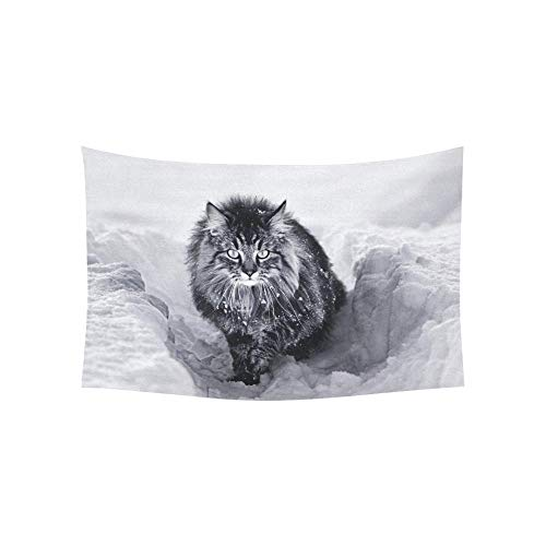 WSMWHX Arazzo Norvegese delle Foreste Gatto Neve Arazzi Appeso A Parete Fiore Psichedelico Arazzo Appeso A Parete Dormitorio Indiano Decor per Soggiorno Camera da Letto-S / 73 Cm X 95 Cm