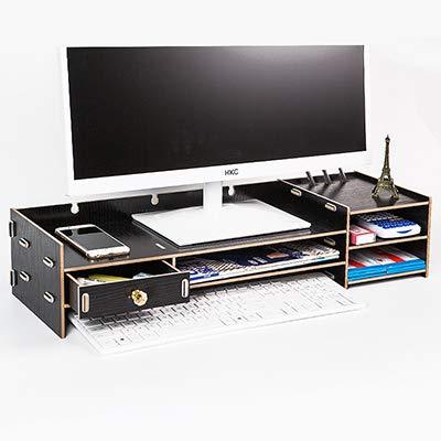 ADSIKOOJF Houten Desktop Monitor PC Stand Riser Houder Over Toetsenbord Bureau Organizer Opbergdoos Case Voor Computer Laptop TV Stand