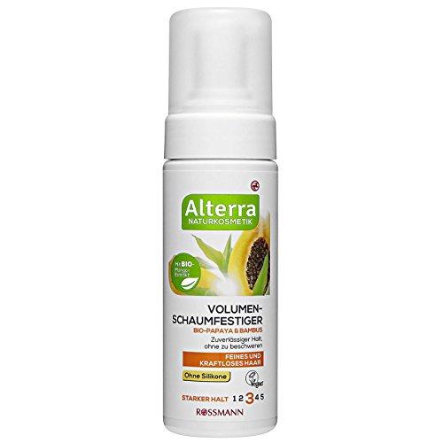 Alterra Volumen-Schaumfestiger Bio-Papaya & Bambus 150 ml starker Halt, für feines & kraftloses Haar, mit Bio-Mango-Extrakt, zuverlässiger Halt, ohne zu beschweren, ohne Silikone, Naturkosmetik, vegan