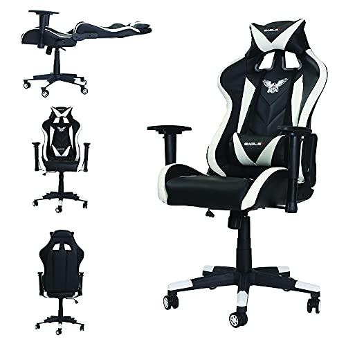 Cadeira Pc Gamer Gaming De Escritório EagleX Profissional Sistema Relax Giratória Com Braço 3D - Branco