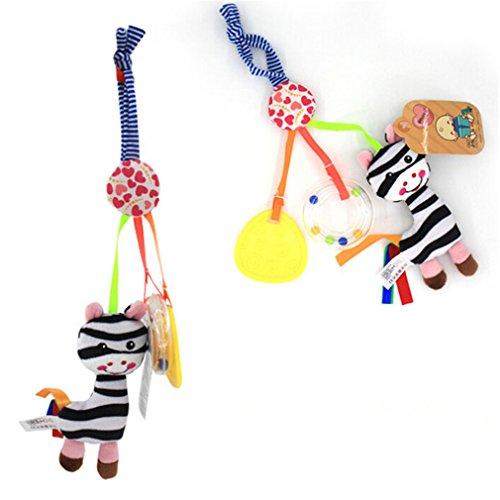 CanVivi Kinderwagen Anhänger Kinderwagenspielzeug Musik Mobile Plüsch Tier Spielzeug ,Zebra