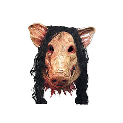 Halloween-Maske Schweinekopf Geformt Maske Mit Haar Tier Horrible Cosplay Masquerade Kostüm Latex-Maske