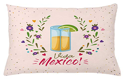 ABAKUHAUS Tequila Sierkussensloop, Bloemen Viva Mexico, Decoratieve Vierkante Hoes voor Accent Kussen, 65 cm x 40 cm, Veelkleurig