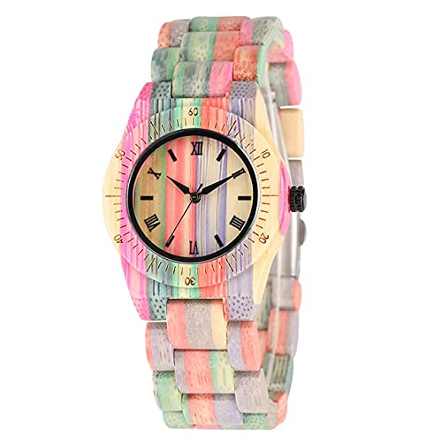 CAIDAI&YL Diseño de Tiras de Colores únicos Reloj de Madera Completo para Mujer Brazalete de Madera Reloj de Cuarzo Reloj de Pulsera Simple para Mujer Cierre Plegable, Modelo 2