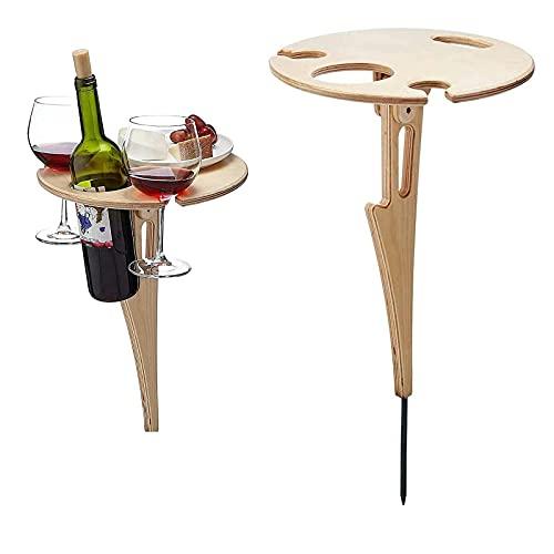 XIAOBUDIAN - Mesa de picnic de madera plegable y redonda para vino, fácil de transportar y jardín, soporte de copa de vino