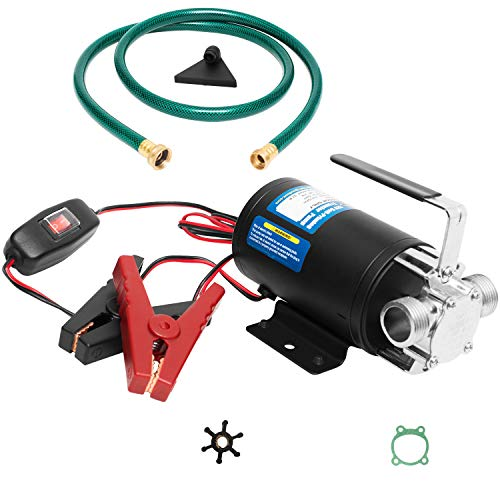 FPOWER Water Pump 12V Water Pump 1/10 HP 330 GPH Water Transfer Pump With 3/4 in. Ports Suction Hose/Strainer And Spare Impeller Electric Water Pump Utility Pump