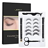 JOYIUS False Eyelashes with Eyeliner Kit Natural Look, No Glue Fake Eyelashes Set, 5-Pair Reusable Lashes with Scissors Tweezers