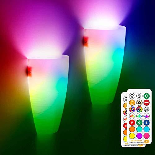 Indoor LED Wandleuchten, 2 Pack 10W Moderne Wandleuchten Fernbedienung mit RGB E27 Farbwechsel Glühbirne für Wohnzimmer Schlafzimmer Flur Veranda Korridor Treppen (nicht batteriebetrieben)