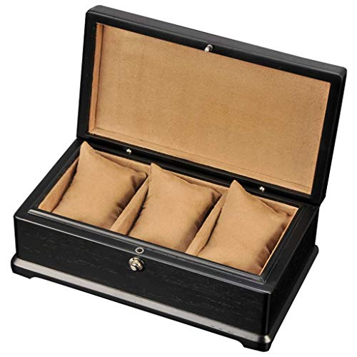 GQSHK GQSHK 3-Slot Uhrenbox mit Zubehör Holzarmband Tablett mit weichem Futter und 3 herausnehmbaren Kissen für Männer/Frauen