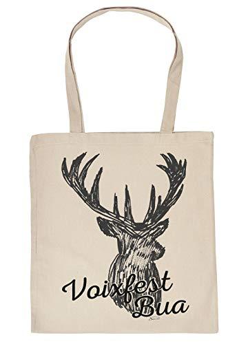 Trachten Einkaufstasche, Stofftasche, Baumwolltasche mit Hirsch - Voixfest Bua