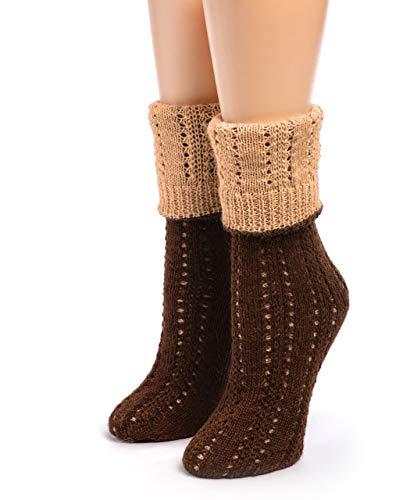 Warrior Alpaca Socks - Damen wendbare handgestrickte Socken aus 100 prozent Alpakawolle – Crew Höhe - Braun - Medium
