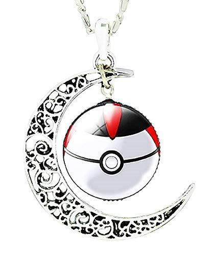 Inception Pro Infinite Collar Pokemon Go – Bola – Pokées – Doble colgante – Luna – Cabujón – Idea regalo para niños blanco – Negro – Ocasión especial