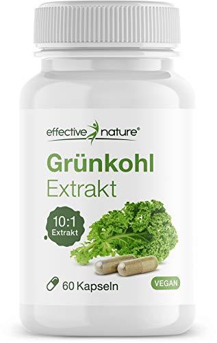 Preisvergleich Produktbild effective nature Grünkohl Extrakt - Hochkonzentriert 10:1 - Ohne unerwünschte Zusätze - Vegan - 60 Kapseln