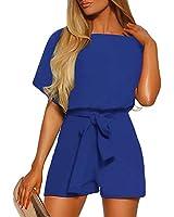 LookbookStore Women's Summer Casual Crewneck Short Sleeve Self-Tie Belted Keyhole Back Short Playsuit Jumpsuits Royal Blue Size Large