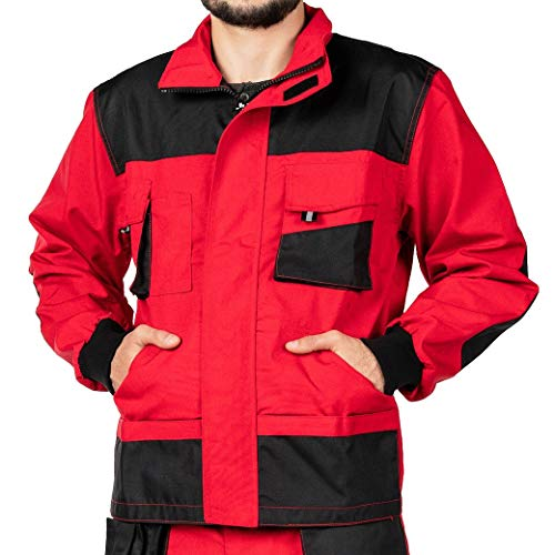 Mazalat Arbeitsjacke männer, Arbeitsjacken Herren, Schutzjacke mit vielen Taschen, Arbeitskleidung männer Größen S-XXXL, Qualität (S, Rot)