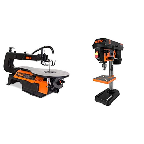 WEN 3921 16-inch Two-Direction Variable Speed Scroll Saw & 4208 8 in. 5-Speed Drill Press
