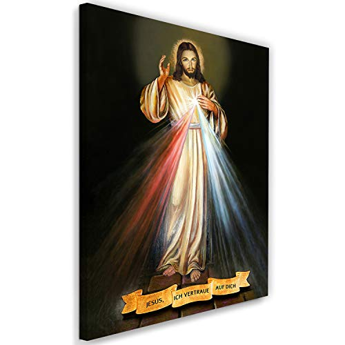 Leinwandbild Jesus Bild Kunstdruck Barmherzigkeit mehrfarbig 40x60 cm
