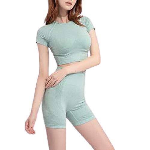 BDN Yoga Pants Chic pour Jogging Workout,Vêtements d'entraînement de Yoga Courts sans Couture, Shorts à Manches Courtes pour Femmes,-Vert_L