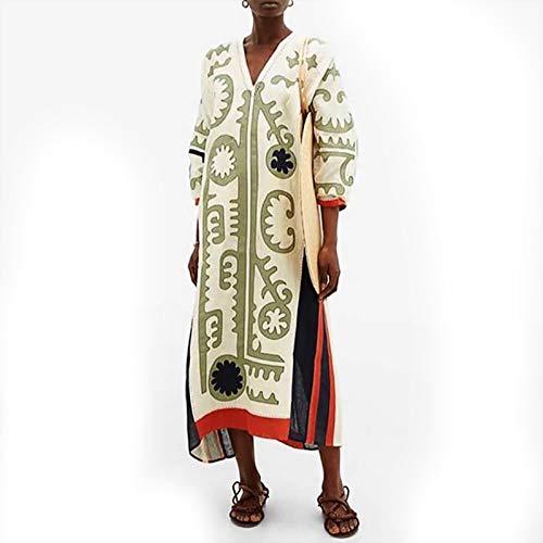 Lös långklänning för kvinnor långärmad V-formad krage klänning med stor gunga